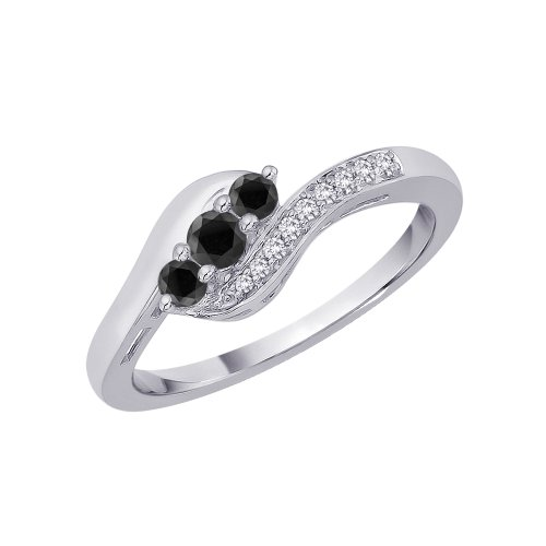 KATARINA Black and White Diamond Twist Ring in 10K White Gold (1/4 cttw) (Color-GH, ()
