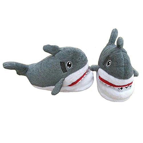 Boomtrader Adult Cute Cartoon Shark Slippers 3D Animal Slippers Winter Plush Slippers -