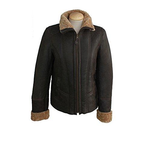 Eastern Counties Leather Damen-Fliegerjacke Orlando aus Schaffell Dunkelbraun iwXNcyL0TW