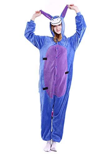 Adult Unisex Animal Eeyore Onesie Cosplay Costume One Piece Pajamas for Women Men