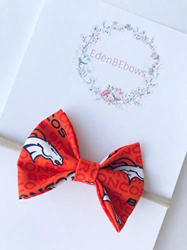 Denver broncos headband bow - great for baby shower, newborn, toddler girls - extra soft nylon headbands - Made in USA (Girls Football Bow)