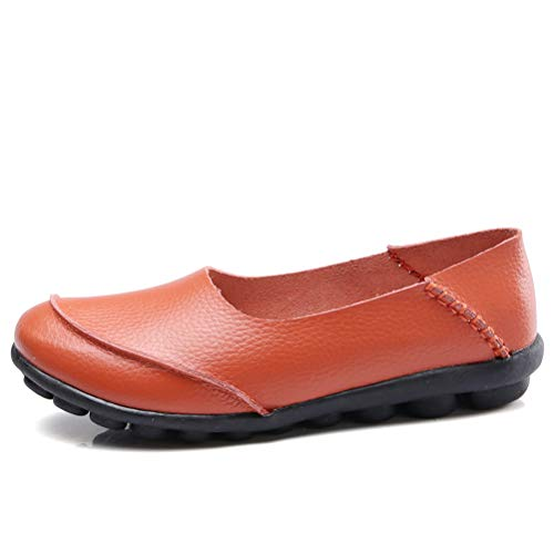 Vintage Mallimoda En Mocassin Style Chaussures Conforts orange Plats Cuir Femme 2 EHSq7