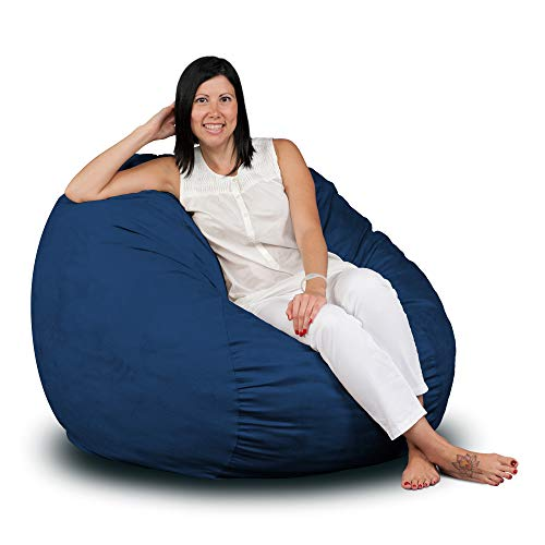 Microfiber Chairs Bean Bag - FUGU Bean Bag Chair, Premium Foam Filled 3 XL, Protective Liner Plus Removable Machine Wash Navy Blue Cover