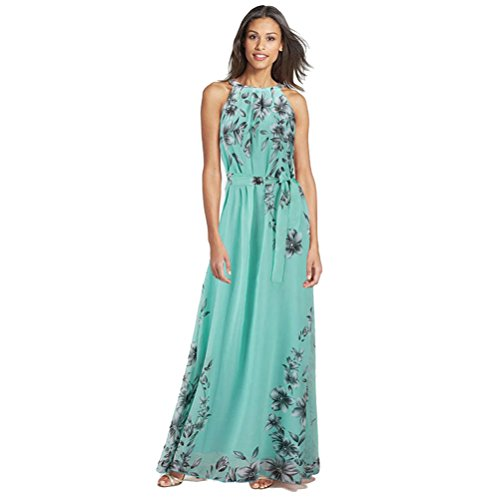 Fashion Story Women Easter Summer Green Evening Gown Floral Long Lace Cocktail Maxi Chiffon Slip Dresses Green XL - Floral Chiffon Gown