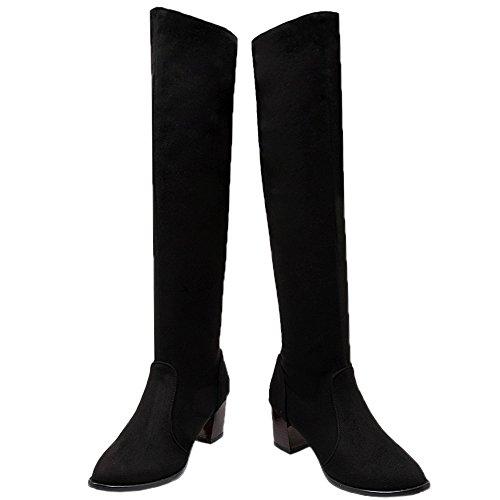 HooH Femmes Sur le genou Bottes L'hiver Chaleureux Suède Rétro Kitten Chunky Knee High Bottes d'équitation Noir DQXBqUx