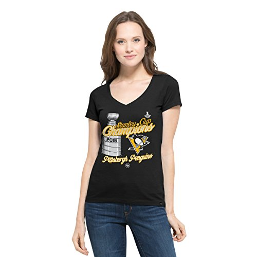 NHL Pittsburgh Penguins Women's 2016 Stanley Cup Champions '47 All Pro Flanker V-Neck Tee, Large, Jet Black