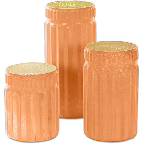 (Koyal Wholesale Ribbed Mercury Glass Vases, Bulk Set of 3, Peach Mercury Vases Flower Centerpieces, Centerpiece Jars Candle Votives, Centerpiece Arrangements, Indoor Outdoor Bud Vases ...)