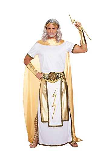 Greece Costume Un (Dreamgirl Men's Zeus Costume, White/Gold,)