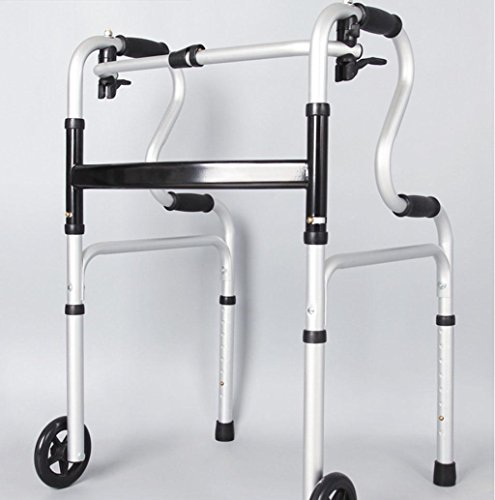 Walker Aluminum Alloy Thickened Four Foot Crutches Walker Button Folding Walker with£¨black£ by jiaminmin