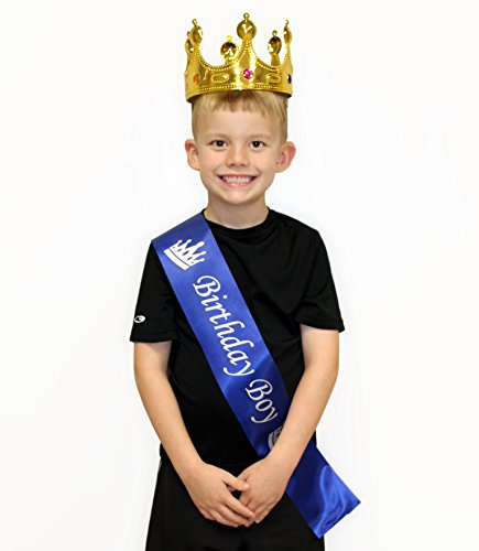 rthday Boy Blue Sash & Gold Crown (2-Piece Set); Party Accessory Set for Boy's B-Day ()