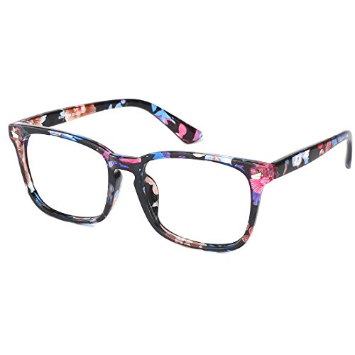 8d352fc9b8b0 Slocyclub Blue light Blocking Glasses Vintage Nerd Square Keyhole Design  Eyeglasses Frame for Women Men
