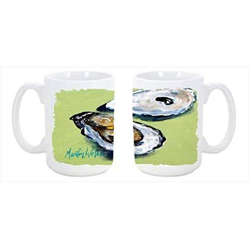 CoolCookware Oysters Two Shells Dishwasher Safe Microwavable Ceramic Coffee Mug 15 oz. from Cocobeen