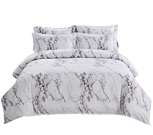 Delbou Tree Marble Pattern Duvet Cover Set,3pcs Quilt Covers Corner Tie,Zipper Closure,Black White Comforter Cover Queen 90 90 inch