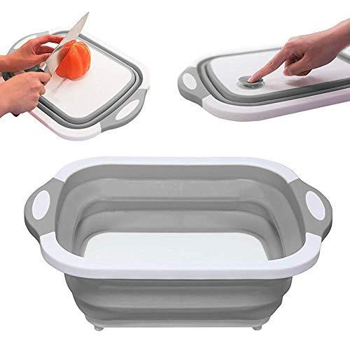 Portable Kitchen Shelf Organiser Standing Storage Sink Cutting Board Vegetable Basket Wash Strainer
