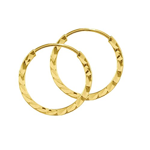10k Yellow Gold 12mm Endless Diamond-Cut Round Tube Hoop Earrings (Hoop 10k Earrings Gold)