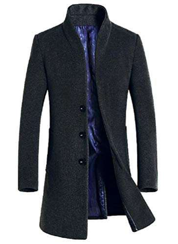 Lavnis Men's Trench Coat Long Wool Blend Slim Fit Jacket Overcoat Size Thin Style Gary XL - Button Cuff Wool Coat