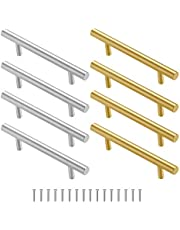8pcs/ 4 paar metalen handgrepen hars lade schimmel handgrepen goud zilver roestvrij staal hardware handgrepen bulk voor siliconen dienblad schimmel lade keuken kast deur met schroeven, 5.9 inch lengte, 1.3 inch breedte
