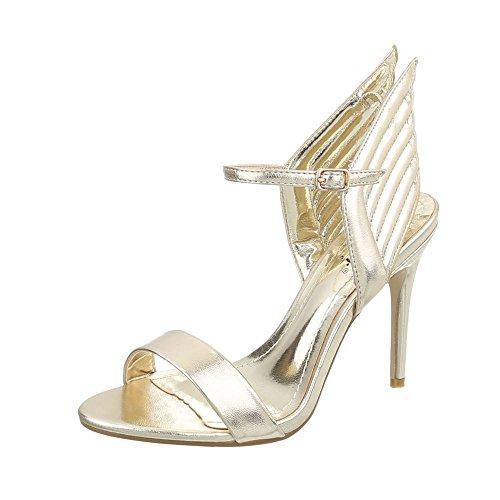 Ital-Design High Heel Sandaletten Damenschuhe High Heel Sandaletten Pfennig-/Stilettoabsatz High Heels Schnalle Sandalen & Sandaletten Gold LT65