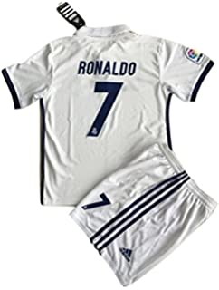 98dcb266ad76 2016 17 Real Madrid Ronaldo  7 Home Youths Football Soccer Kids Jersey    Short