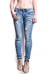 Pink Ice Women's Juniors Low Rise Distressed Skinny Jeans, Size 3