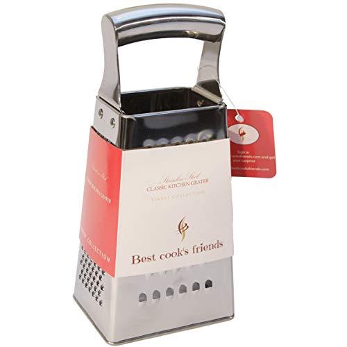 Cheese Grater Stainless Steel – Heavy Duty Countertop Box Grater – 4–Sided Handheld Food Shredder For Kitchen – Lemon Zester – Ginger, Vegetable or Fruit Pasta Salad Maker - For ()