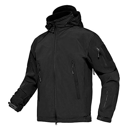 TACVASEN Military Waterproof Winderproof Combat Assault Fleece Jacket Coat Black,US S(fit chest:32