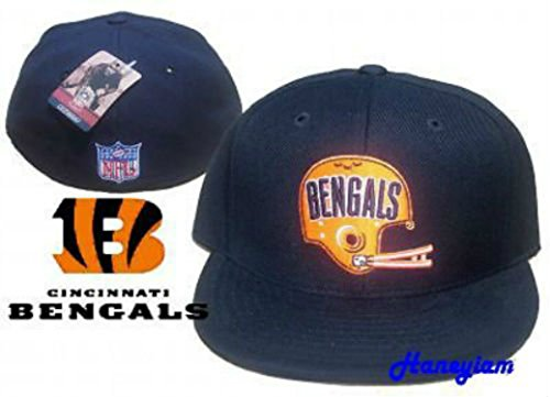 Cincinnati Bengals Fitted Size 7 5/8 Vintage Throwback Helmet Logo Hat Cap - Black