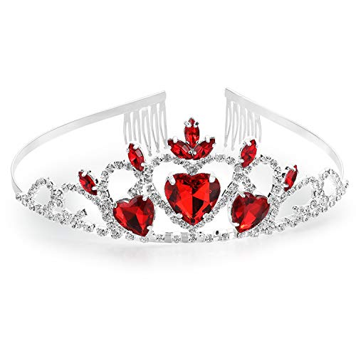 - IDOXE Evie Descendants 2 Queen of Hearts Crown for Adult Kids Headband Tiara Comb Pin Ruby Costume Halloween Accessories Red Heart Princess Jewelry Gift for Her
