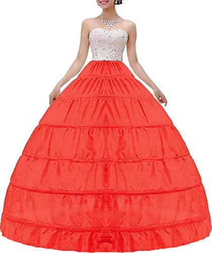 (MISSVEIL Women Crinoline Petticoat Hoop Skirt Slips Long Underskirt for Wedding Dress Ball Gown Red)