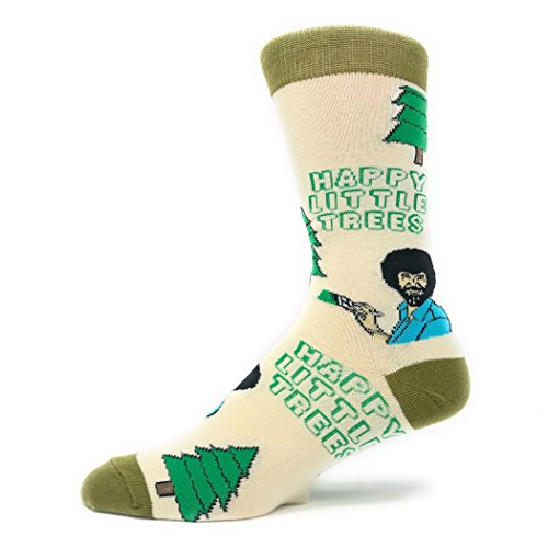 Mens Funny Novelty Crew Bob Ross Socks Happy Little Tree