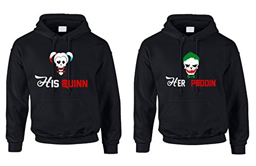 [Allntrends Couples Hoodie His Quinn Her Poddin Trendy Matching Costumes (Womens 2XL Mens 2XL, Black)] (His And Her Costumes Ideas)