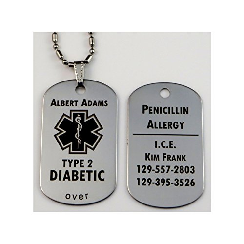 Custom Engraved Polished Stainless Steel Medical Alert ID Tag Pendant Necklace - Free Personalization Custom Engraved Medical Id Tag