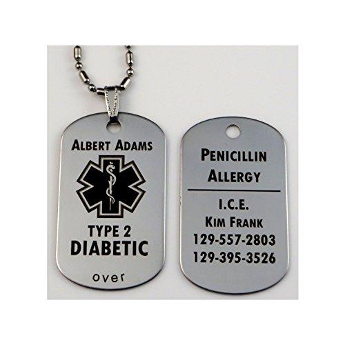 Custom Engraved Polished Stainless Steel Medical Alert ID Tag Pendant