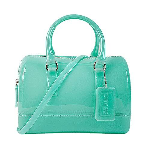 GODW Donna Jelly Handbag Fashion Semi-clear Candy-coloured Boston Bag PVC Borsa A Tracolla A Spalla Malachitegreen