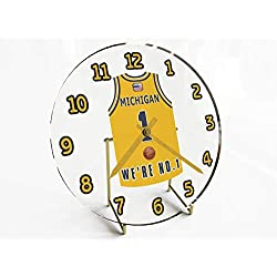 College Basketball USA - We're Number ONE College Hoops Jersey Themed Clocks - Support Your Team !!! (Michigan Wolverines)