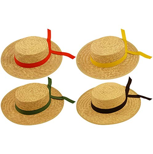 Rimi Hanger Pack of 4 Assorted Ribbon Venetian Gondolier Straw Hat Adults Party Accessories One Size Fits Most -