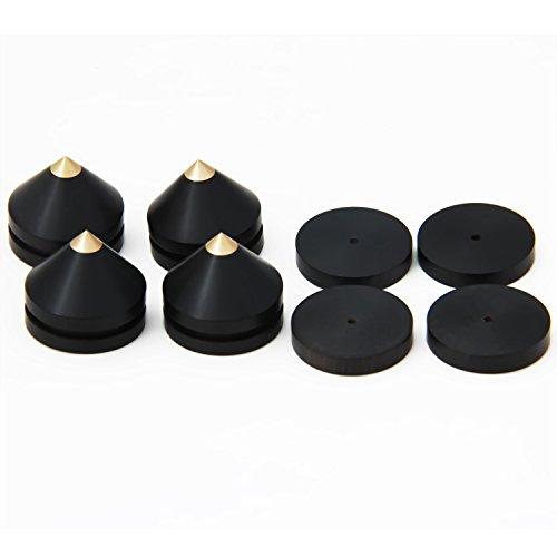 LuguLake Ebony Wood & Brass Speaker Spike for Amplifier/Studio Monitor/CD Player/TV Feet 0.9 inch,4 Packs
