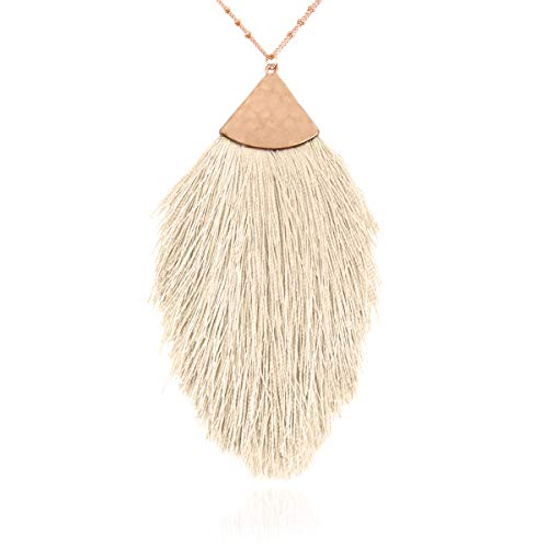RIAH FASHION Antique Bohemian Silky Thread Fan Tassel Statement Necklace - Vintage Gold Feather Shape Strand Fringe Lightweight Long Chain (Feather Fringe - White)