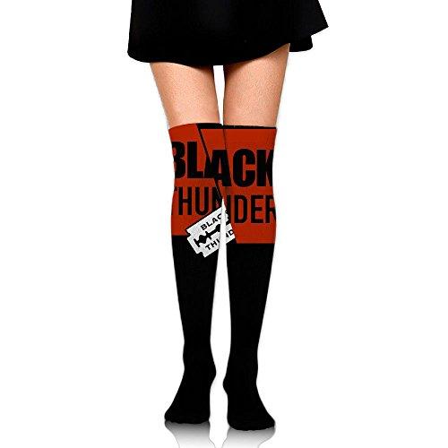 Zhongjian Unisex Knee High Long Socks Black Thunder 2017 New Style Sport Wrist Socks Length 65Cm