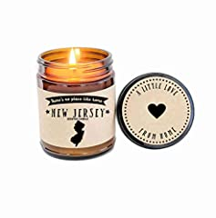 State of New Jersey Scented Candle . Hand poured, all natural soy 9 oz candle: made from start to finish in Astoria Oregon. There's no place like home! From The Diner Capital of the World and Abbott & Costello to Princeton University and ...
