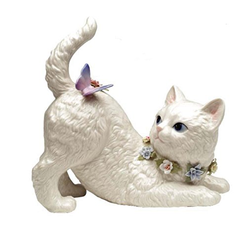(Cosmos Gifts SA49116 Fine Porcelain White Persian Cat with Flowers Watching Butterfly Resting on It Musical Music Box Figurine (Music Tune: Younger Than Springtime), 7-3/8