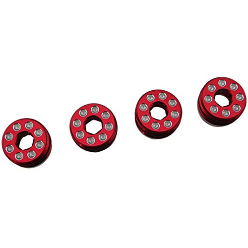 (Hot Racing AON21N02 Aluminum Delrin Cap Hub Nut with O-Ring Red Arrma)