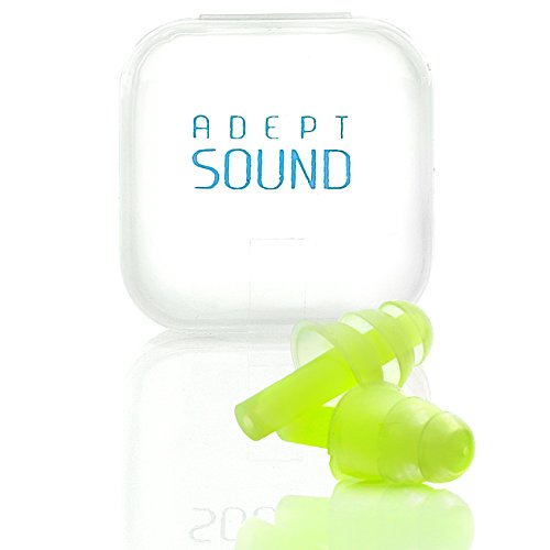 Ear Plugs (Green) Noise Cancelling For Sleeping, Concerts, Music Events, Shooting Range, Construction Work, Motor Sports Racing, Reusable Soft Hypoallergenic Silicone Material, Comfortable Earplugs by Adept Sound