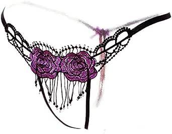 Women Lady Elegant Flower Pattern Purple Lace Open Crotch G-String(7003)