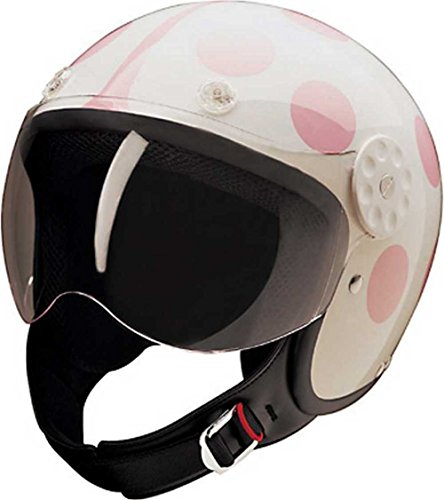 HCI Open Face Fiberglass Motorcycle Helmet - White/Pink Ladybug 15-250 (Small)