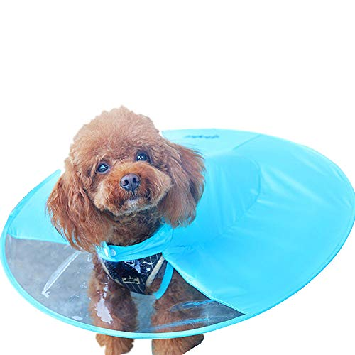 Pet Dog Raincoat Umbrella with Hood Waterproof Poncho for Small Dogs Cats (L, Blue)]()