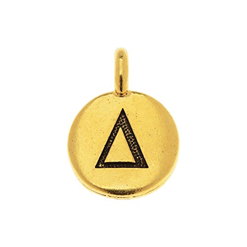habet Charm, Delta Symbol 16.75x11.75mm, 1 Piece, Antiqued Gold Plated ()