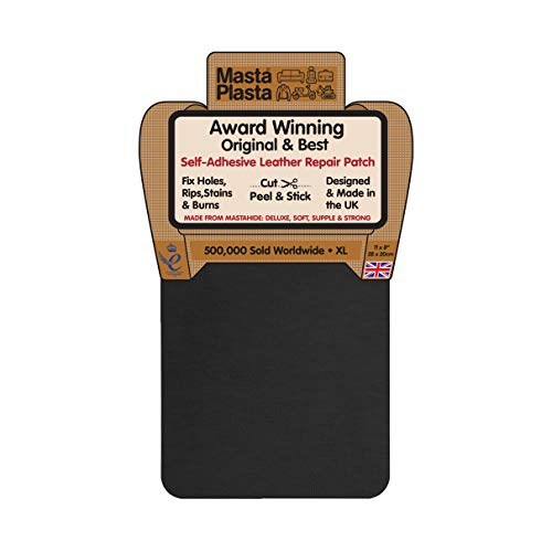 MastaPlasta Self-Adhesive Patch for Leather and Vinyl Repair, XL Plain, Black - 8 x 11 Inch - Multiple Colors Available ()