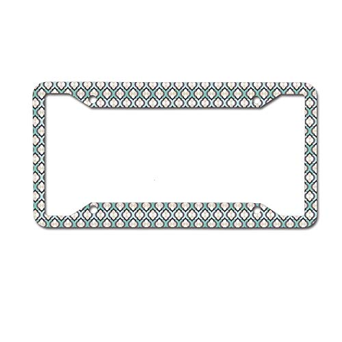 Abstract Folkart Tile Pattern Home Cafe Interior Decoration License Plate Frame Black - Aluminum Metal License Plate Covers Cute Car Tag Frame for Women