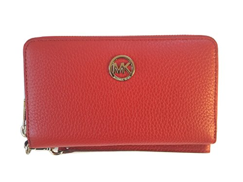 Michael Kors Fulton Large Flat Multifunction Leather Phone Case Wristlet, - Kors Michael Clear Handbag
